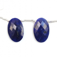 Dyed Blue Sapphire Drops Oval Shape 22x14mm Drilled Beads Matching Pair