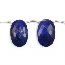 Dyed Blue Sapphire Drops Oval Shape 22x15mm Drilled Beads Matching Pair