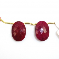 Dyed Ruby Drops Oval Shape 20x14mm Drilled Beads Matching Pair