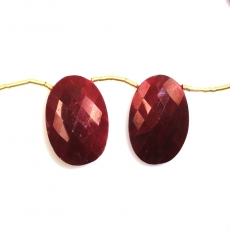 Dyed Ruby Drops Oval Shape 21x14mm Drilled Beads Matching Pair