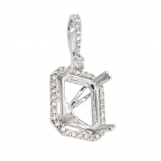 Emerald Cut 10x8mm Pendant Semi Mount in 14K White Gold with White Diamonds