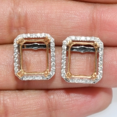 Emerald Cut 11x9mm Earring Semi Mount in 14K Dual Tone (White/Yellow) Gold With White Diamonds