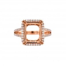 Emerald Cut 11x9mm Ring Semi Mount in 14K Rose Gold With White Diamond (RSHE013)