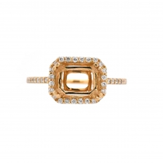Emerald Cut 8x6mm Ring Semi Mount in 14K Yellow Gold With White Diamond (0033RG-Y-2)