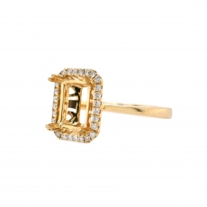 Emerald Cut 9x7mm Ring Semi Mount in 14K Yellow Gold With White Diamond (RSHE020)