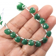 Emerald Drops Heart Shape 8x8mm Drilled Beads 12 Pieces Line