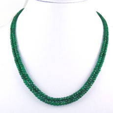 Emerald Rondelle 2mm Bead 2 Strand Ready To Wear Necklace