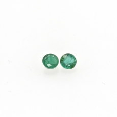 Emerald Round 4.5mm Matching Pair Approximately 0.78 Carat