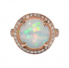 Ethiopian Opal 3.95 Carat with Halo diamond in 14K Rose Gold Ring