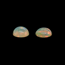 Ethiopian Opal Cab Round 10mm Matching Pair Approximately 4.50 Carat