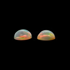 Ethiopian Opal Cab Round 8.5mm Matching Pair Approximately 3 Carat