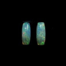 Ethiopian Opal Emerald Cushion Shape 20.5x8.4mm Matching Pair Approximately 9.61 Carat