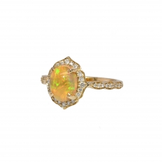 Ethiopian Opal Oval 1.16 Carat With Accented Diamond Halo Ring in 14K Yellow Gold