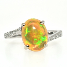 Ethiopian Opal Oval 1.84 Carat With Accented Diamond Ring In 14k White Gold