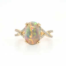 Ethiopian Opal Oval 2.48 Carat With Accented Twisted Diamond Shank Ring in 14K Yellow Gold