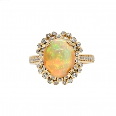 Ethiopian Opal Oval 2.73 Carat With Accented Diamond Ring in 14K Yellow Gold