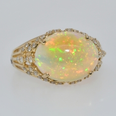 Ethiopian Opal Oval 2.88 Carat With Accented Diamond Ring In 14k Yellow Gold