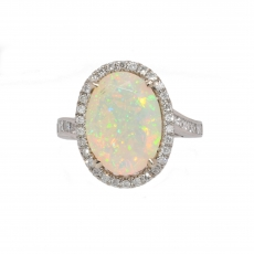 Ethiopian Opal Oval 3.33 Carat With Accented Diamond Halo Ring In 14k White Gold