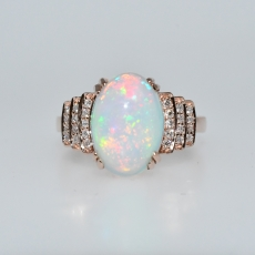 Ethiopian Opal Oval 3.37 Carat With Accented Diamond Ring in 14K Rose Gold