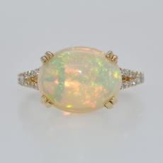 Ethiopian Opal Oval 3.45 Carat With Accented Spilt Shank Diamond Ring in 14K Yellow Gold