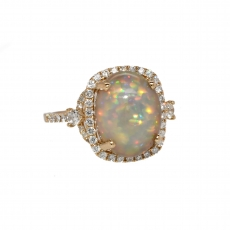 Ethiopian Opal Oval 3.48 Carat With Accented Diamond Halo Ring In 14k Yellow Gold