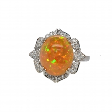 Ethiopian Opal Oval 3.58  Carat With Accented  Floral Petal Diamond Halo Ring in 14K White Gold