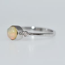 Ethiopian Opal Round 0.54 Carat With Diamond Bezel Set Ring In 14K White Gold