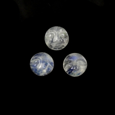 Faces Rainbow Moonstone Cabs Round 10mm Approximately 10 Carat