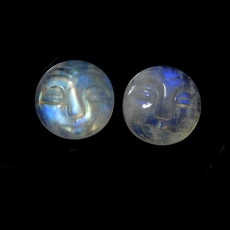 Faces Rainbow Moonstone Cabs Round 11mm Matched Pair Approximately 8 Carat