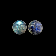Faces Rainbow Moonstone Cabs Round 12mm Matched Pair Approximately 11 Carat