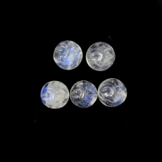 Faces Rainbow Moonstone Cabs Round 8mm Approx  9 Carat