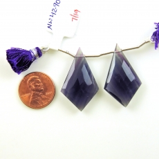 Fluorite Drops Shield Shape 32x19mm Drilled Beads Matching Pair
