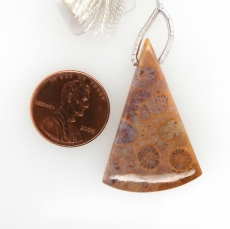 Fossil Coral Drop Conical Shape 38x20mm Drilled Bead Single Pendant Piece