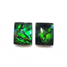 Fossilized Ammolite Emerald Cut 10x8mm Matching Pair Approximately 5.45 Carat