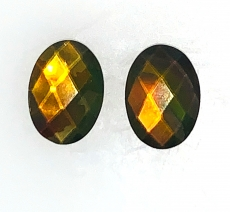 Fossilized Tri - Color Ammolite Oval 14x10mm Matching Pair Approximately  8.93 Carat