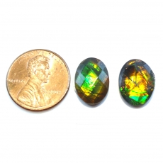 Fossilized Tri Color Ammolite Oval 14x10mm Matching Pair Approximately 7.96 Carat