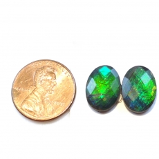 Fossilized Tri Color Ammolite Oval 14x10mm Matching Pair Approximately 8.23 Carat