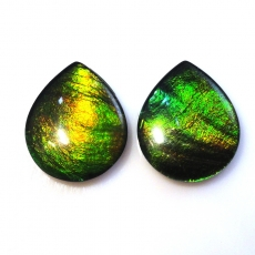 Fossilized Tri Color Ammolite Pear 13x11mm Matching Pair Approximately 6.90 Carat