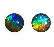 Fossilized Tri-Color Ammolite Round 10mm Matching Pair Approximately  4.82 Carat