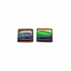 Fossilized Tri-Color Ammolite Square 8mm Matching Pair 3.99 Carat
