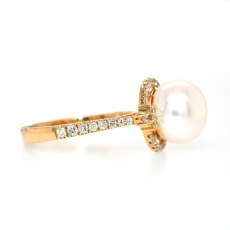 Freshwater Pearl 5.20 Carat With Accented Diamond Halo Engagement Ring in 14K Yellow Gold