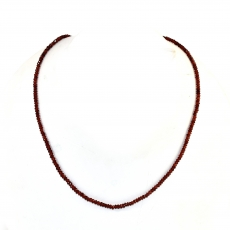 Garnet  Drops Roundelle Shape 3mm Accent Beads Ready To Wear Neclace