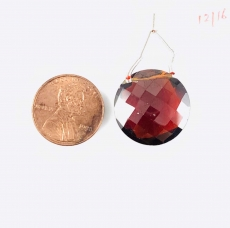 Garnet Hydro  Drops Coin Shape 20mm Drilled Beads Pendant Piece