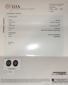 Gia Certified Alexandrite With Excellent Color Change 2.65 Carat Oval 9.43x6.57mm*