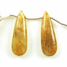 Golden Rutilated Quartz Drops Almond Shape 30x10mm Drilled Beads Matching Pair