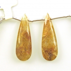 Golden Rutilated Quartz Drops Almond Shape 31x10mm Drilled Beads Matching Pair