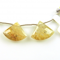 Golden Rutilated Quartz Drops Fan Shape 20x16mm Drilled Beads Matching Pair