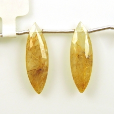 Golden Rutilated Quartz Drops Marquise Shape 26x8mm Drilled Beads Matching Pair
