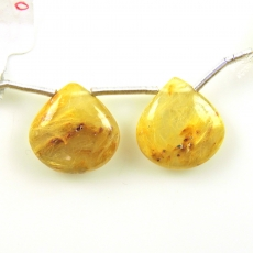 Golden Rutilated Quartz Drops Pear Shape 16x16mm Drilled Beads Matching Pair