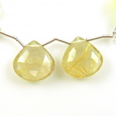 Golden Rutilated Quartz Drops Pear Shape 18x18mm Drilled Beads Matching Pair